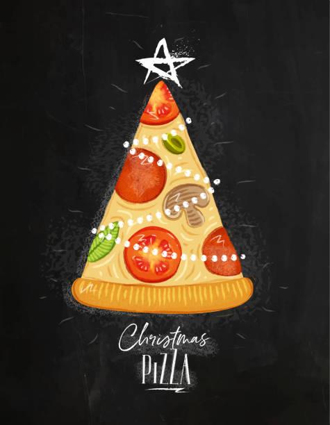 illustrazioni stock, clip art, cartoni animati e icone di tendenza di poster christmas tree pizza chalk - pranzo di natale