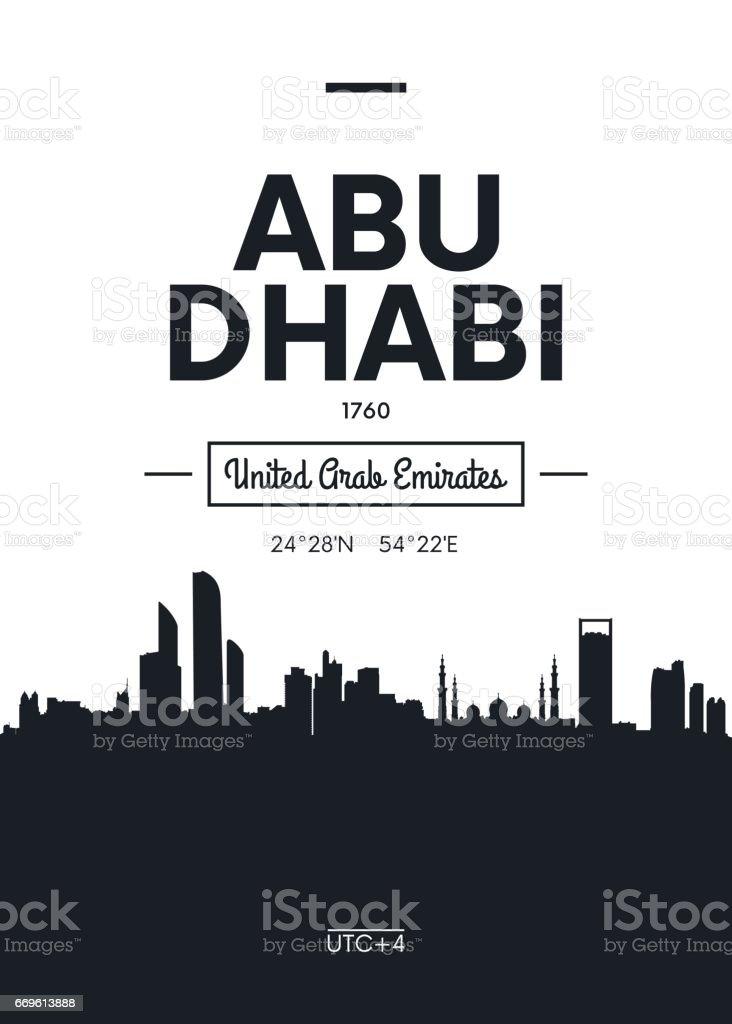 Poster city skyline Abu Dhabi, vector illustration vector art illustration