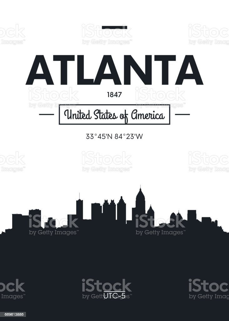 Poster city skyline Atlanta, vector illustration vector art illustration