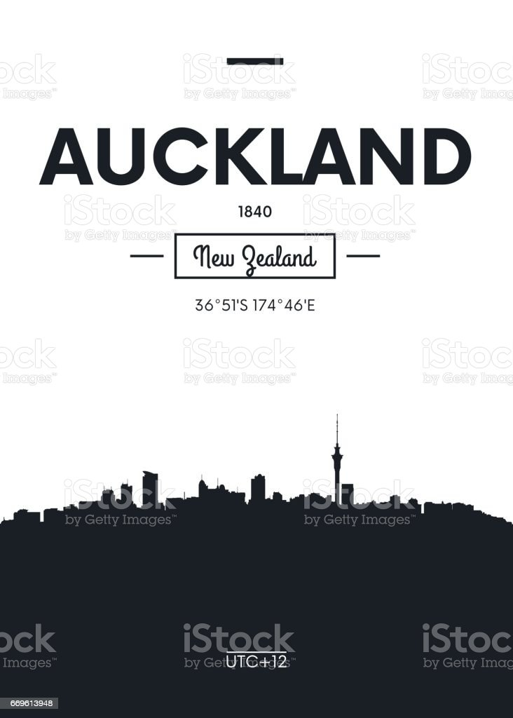 Poster city skyline Auckland, vector illustration vector art illustration