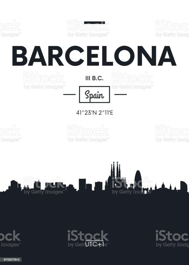 Poster city skyline Barcelona, vector illustration - ilustración de arte vectorial