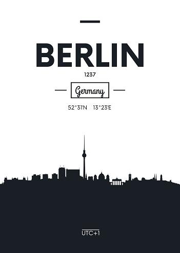 Poster city skyline Berlin, vector illustration