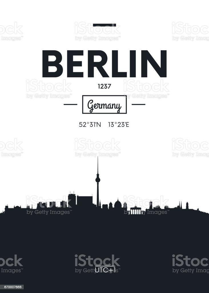 Poster city skyline Berlin, vector illustration vector art illustration