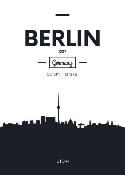 bildbanksillustrationer, clip art samt tecknat material och ikoner med affisch stadens silhuett berlin, vektorillustration - berlin street