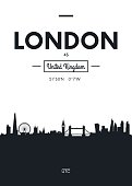 Poster city skyline London, Flat style vector illustration