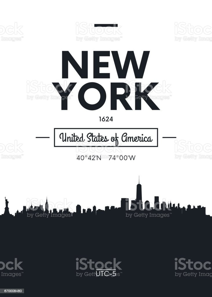 Poster city skyline New York, vector illustration vector art illustration
