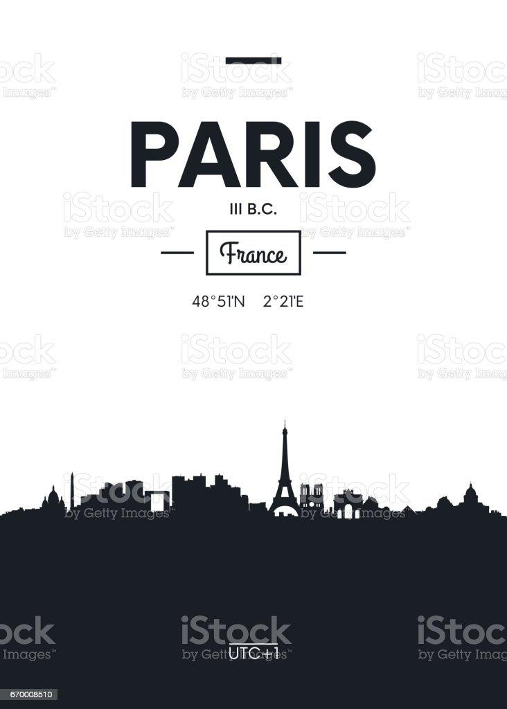 Poster city skyline Paris,  vector illustration