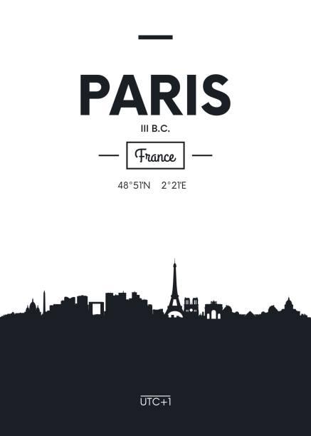 poster city skyline paris,  vector illustration - paris stock illustrations, clip art, cartoons, & icons