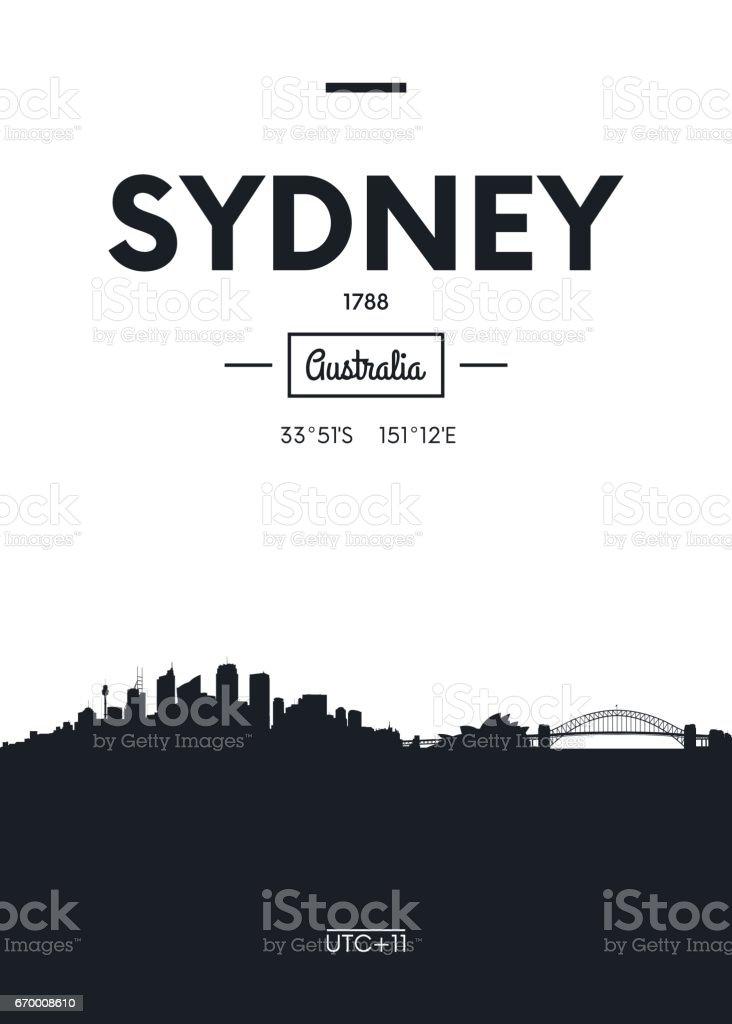 Poster city skyline Sydney, vector illustration vector art illustration