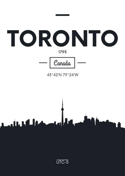 poster city skyline toronto, vector illustration - toronto stock illustrations