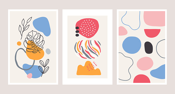 Poster collection with contour monstera leaf, circles, lines, geometric shapes
