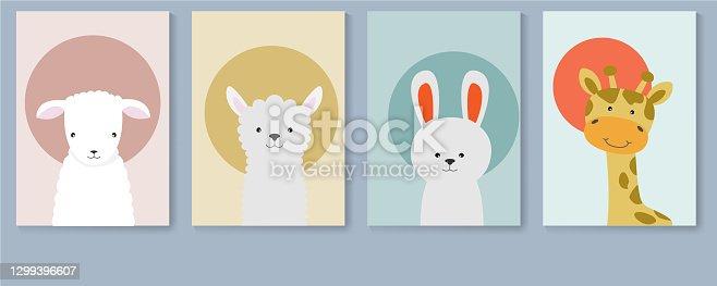 istock Poster collection with cute animals, sheep, lamb, llama, rabbit and giraffe. 1299396607
