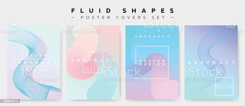 Poster Covers Set with Fluid Shapes. Modern Hipster Retro Pattern. vector art illustration