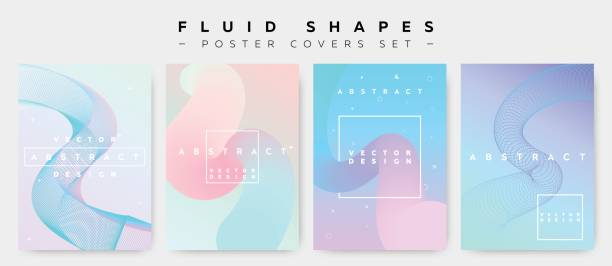 poster covers set with fluid shapes. modern hipster retro pattern. - pastel colored stock illustrations, clip art, cartoons, & icons