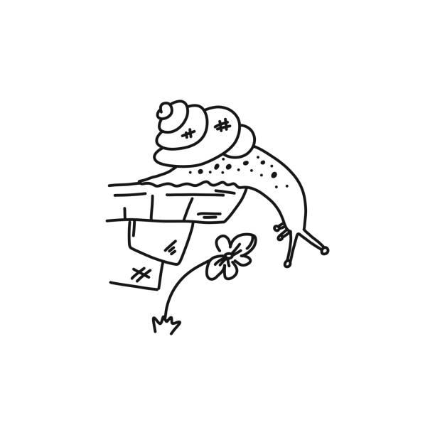 Poster, neugierige Schnecke Klippe, Skizze von Hand gezeichnet. – Vektorgrafik