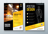 Poster design. A3, A2, A1. Black Yellow Corporate business template for poster, banner, placard, billboard, movie poster. Layout with modern elements and abstract triangle background. Creative concept