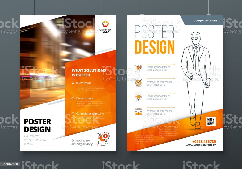 Poster design. A3, A2, A1. Orange Corporate business template for poster, banner, placard, billboard, movie poster. Layout with modern elements and abstract triangle background. Creative concept vector art illustration