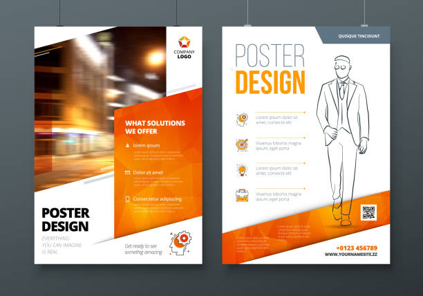 poster design. a3, a2, a1. orange corporate business template for poster, banner, placard, billboard, movie poster. layout with modern elements and abstract triangle background. creative concept - poster stock illustrations