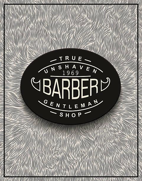 ilustrações, clipart, desenhos animados e ícones de poster design for barbershop - texturas de pelo de animal