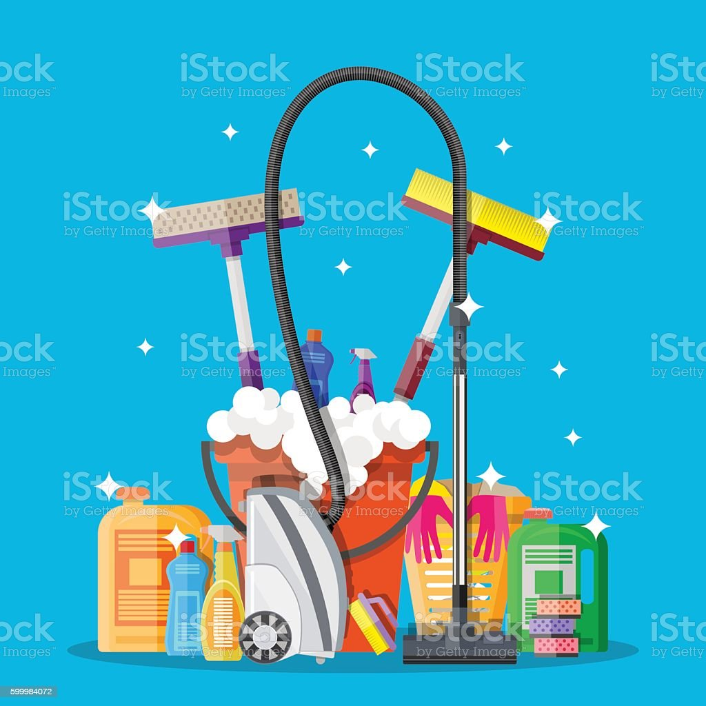 Poster design for cleaning service and supplies vector art illustration