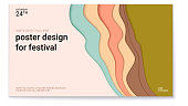 Poster design for festival with abstract pattern of cut paper. The symbol of the surf, wind or smoke. Horizontal vector template of poster, design layout for brochure, banner, flyer