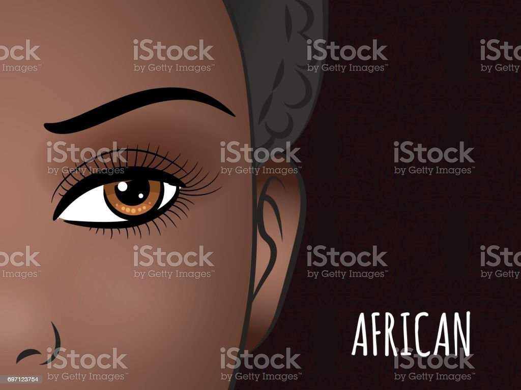 Poster design with African woman face vector art illustration