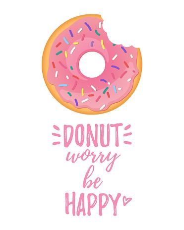 poster design with bitten doughnut