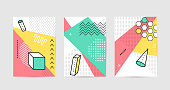 Poster design with geometric graphic elements. Geometrical shapes pattern set for abstract fashion vector background in trendy simple geometric style.