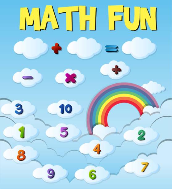 illustrations, cliparts, dessins animés et icônes de conception de l'affiche avec des chiffres et des signes - nuage 6