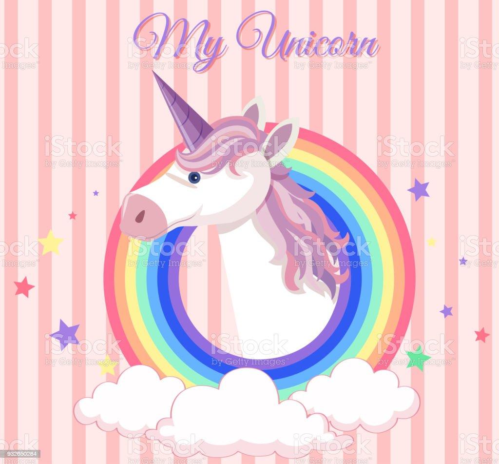 Diseño Del Rainbow Warrior Iii: Ilustración De Diseño De Cartel Con Unicornio Y Ronda Del