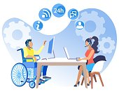 Poster Equal Working Conditions for People Flat. Willingness to Cover Different Areas Activity. Girl Works in an Office at Same Time as Man in Wheelchair Cartoon. Vector Illustration.
