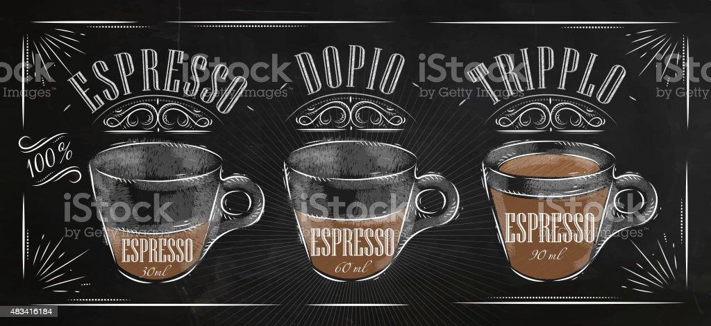 Poster espresso chalk vector art illustration