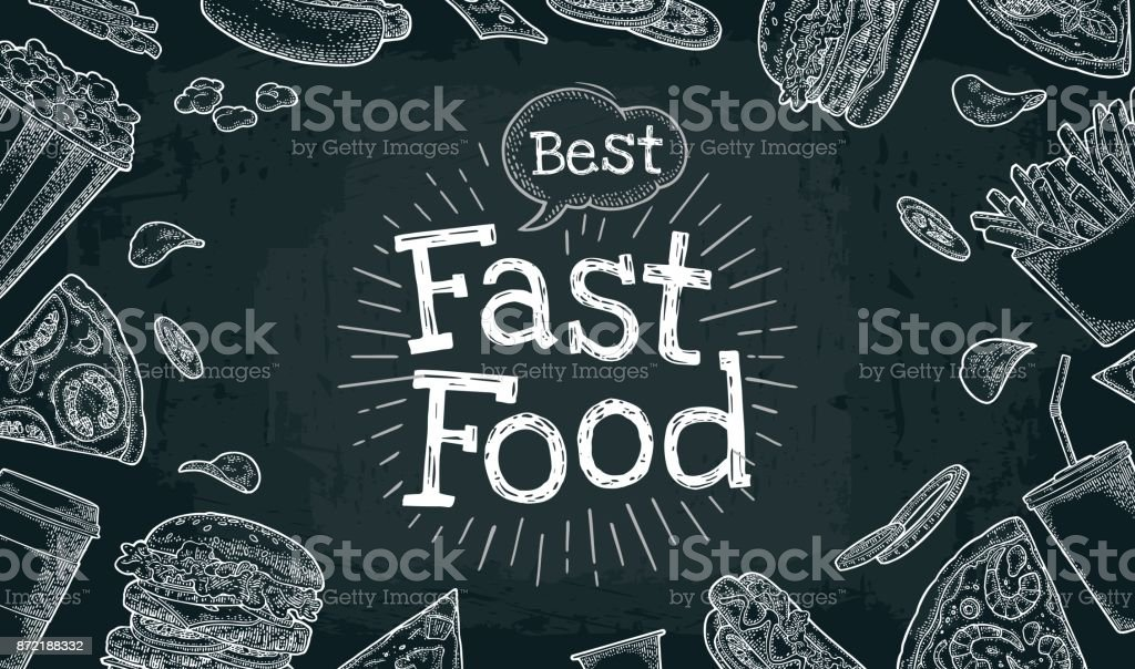 Poster fast food. Vector color flat illustration on dark background vector art illustration