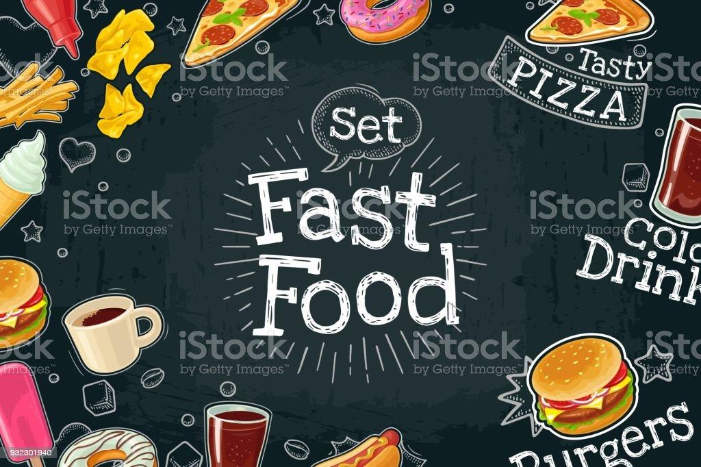 Poster fast food. Vector color flat illustration on dark background vector art illustration