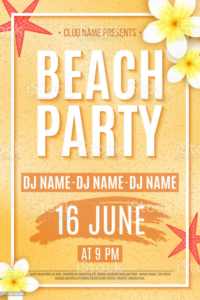 Poster For A Beach Party Invitation Flyer Tropical Plumeria