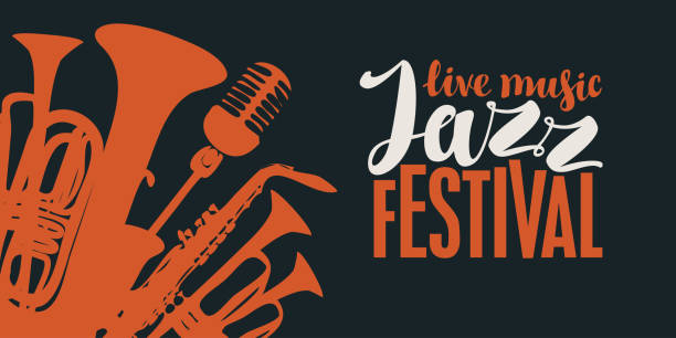 poster for a jazz festival of live music - jazz stock illustrations