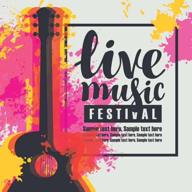 bildbanksillustrationer, clip art samt tecknat material och ikoner med affisch för en levande musikfestival med en gitarr - traditionell festival