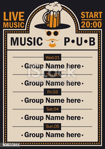 istock poster for beer pub with live music with a hipster 908012644