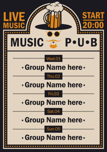 affiche de pub de bière avec musique live avec un hipster - Illustration vectorielle