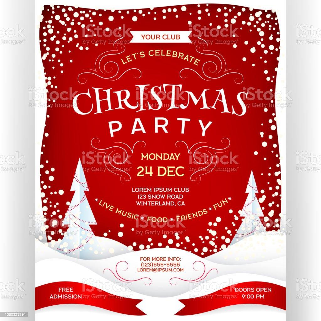 Weihnachtsfeier Plakat.Plakat Zur Weihnachtsfeier In Rot Und Weiß Stock Vektor Art Und Mehr