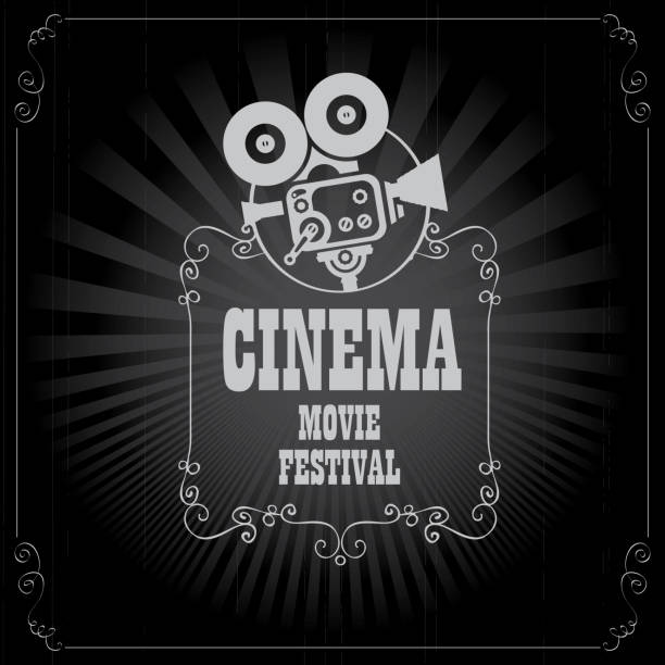 poster for cinema movie festival with old camera Vector cinema movie festival poster with old fashioned movie camera in retro style. Can used for banner, poster, web page, background premiere event stock illustrations