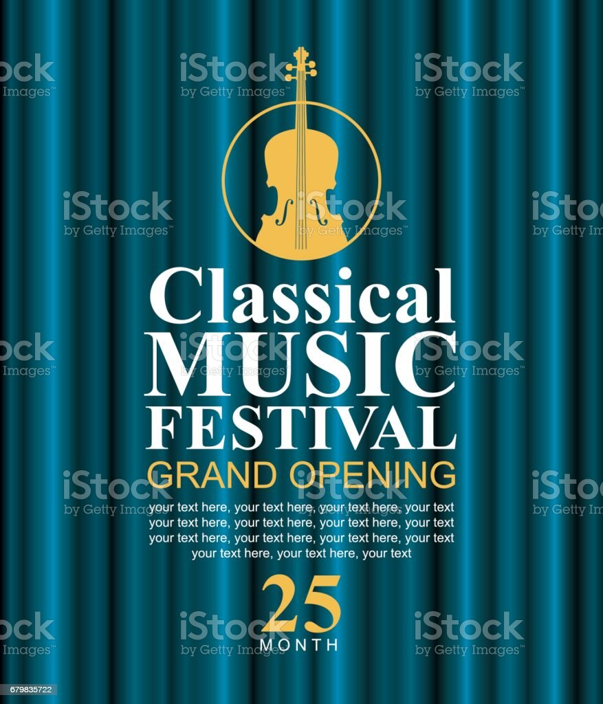 poster for classical music festival with violin vector art illustration