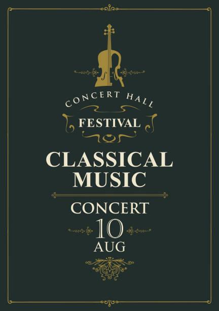 bildbanksillustrationer, clip art samt tecknat material och ikoner med affisch för konserten med klassisk musik med fiol - orkester