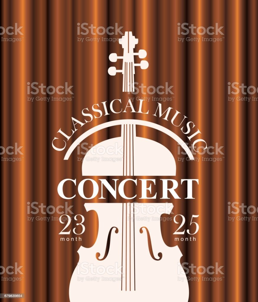 poster for concert of classical music with violin vector art illustration