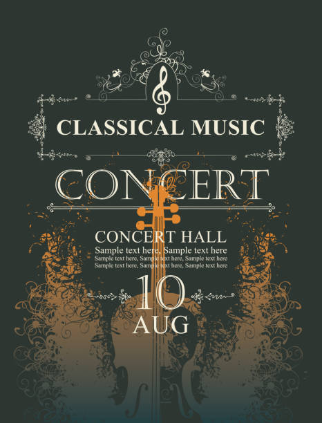 poster for concert of classical music with violin - instrument strunowy stock illustrations