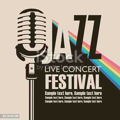 Vector poster for a jazz festival live music with a microphone, rainbow rays and place for text in retro style
