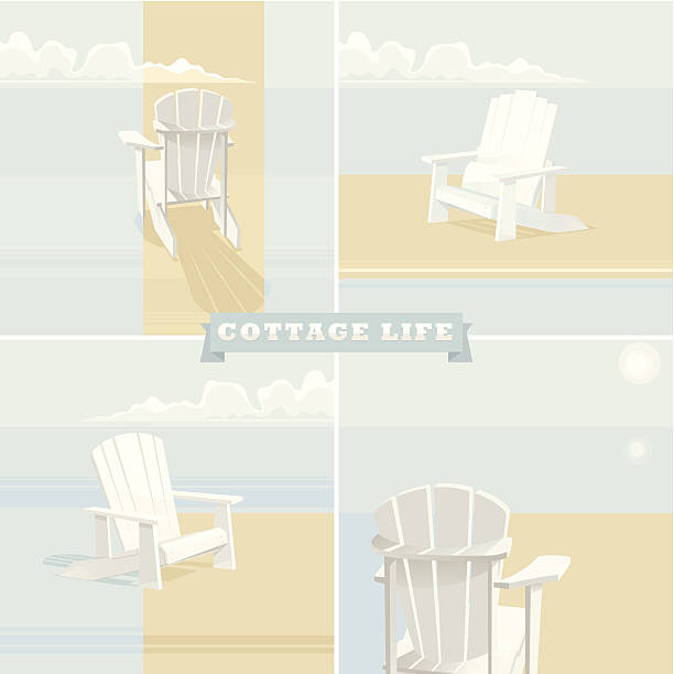 A poster for cottage life with beach chairs  White Adirondack Chairs on a lake shore with