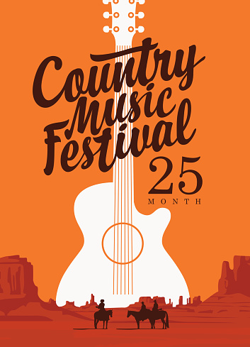 poster for country music festival with a guitar