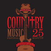 Vector poster for country music festival with brown cowboy hat and guitar, on a black background with red inscriptions in retro style