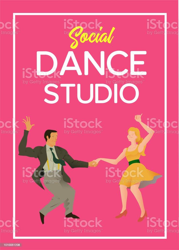 poster for dance studio flyer or element of advertizing for social